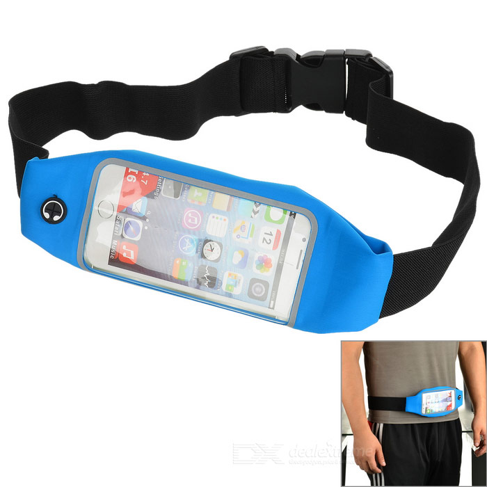 Sports Waist Bag w/ Buckle Strap, Earphone Hole - Light Blue