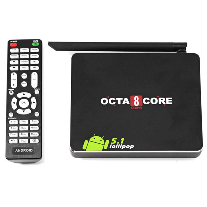 CSA90 RK3368 Android 5.1 Octa-Core 4K Smart TV Box w/ 8GB ROM - Black
