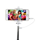 Selfie Monopod w/ Mirror, 3.5mm Cable for 5.5~8.5cm Phone - Black