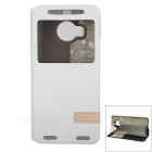 USAMS Protective Flip-Open PU + PC Case w/ Stand / Visual Window for HTC One M9 Plus - White