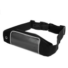 Water-proof Sports Waist Bag w/ Buckle Strap, Earphone Hole - Black