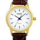 Mpai Women's Fashion Retro Waterproof PU Band Round Quartz Analog Watch - Brown + Gold (1 x SR626)