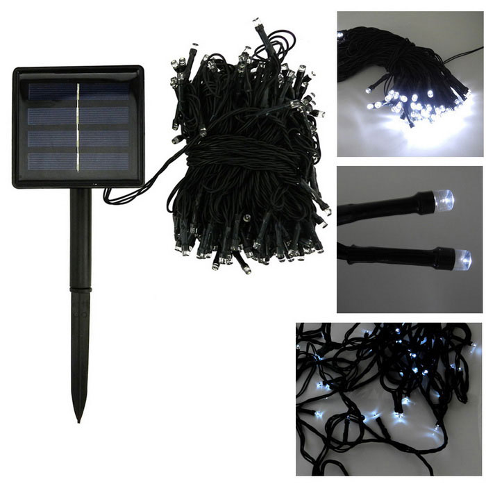 In-color solar powered 2W blanco frío 2-Mode 40lm 200-LED string luz