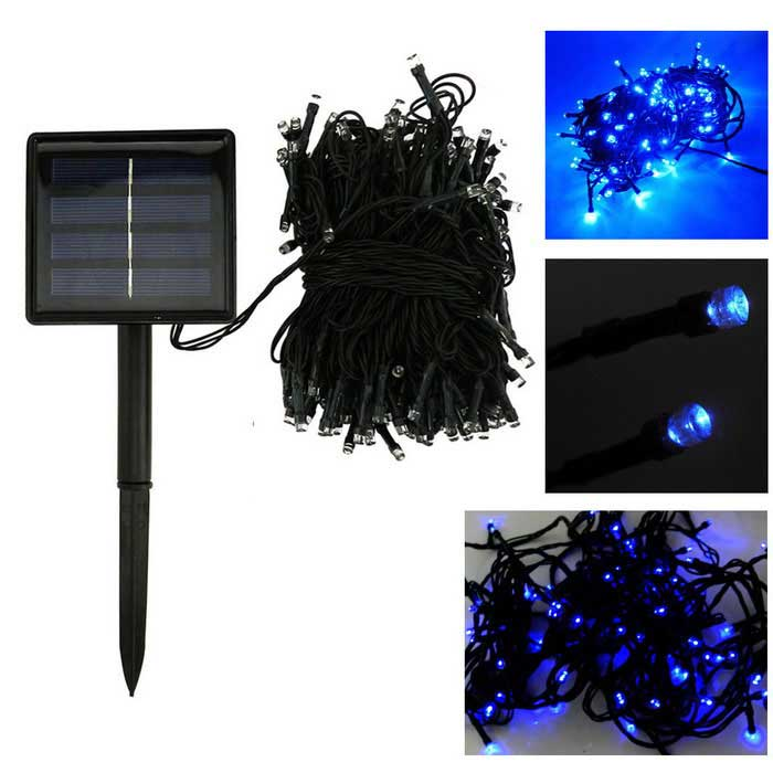 In-Color Solar Powered 2W 2-Mode Azul 200-LED String Luz - Negro