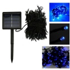 IN-Color Solar Powered 2W 200-LED String Light Blue Light 2-Mode 470nm 40lm - Black + Blue (2V)