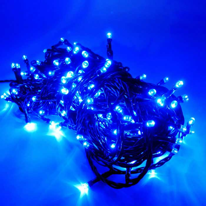 IN-Color Solar Powered 2W 2-Mode Blue 200-LED String Light - Black - Free Shipping - DealExtreme