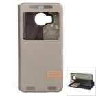 USAMS Protective Flip-Open PU + PC Case w/ Stand / View Window for HTC One M9 Plus -  Champagne Gold
