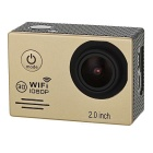 "2.0"" LTPS 12MP Wide Angle 1080P Sports Camera DV w/ Wi-Fi, TF - Golden"