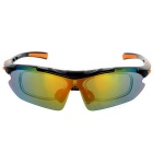 CTSmart Outdoor Sports Sandproof Windproof Polarized Sunglasses Goggles - Black + Orange