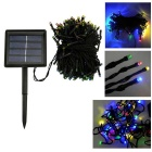 2W Solar Powered Colorful Light 200-LED Lamp Light String - Black + Multicolored