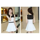 Women's Fashionable Sweet Slim Dacron Sleeveless Dress - White + Black (M)