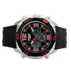HPOLW Men's 30m Waterproof Silicone Analog + Digital Watch - Black