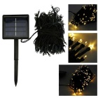 IN-Color Solar Powered 2W 200-LED String Light Yellow 2-Mode 560nm 40lm - Black + Yellow (2V)
