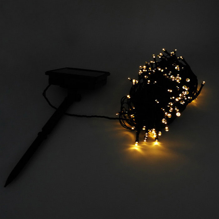 IN-Color Solar Powered 2W Yellow 2-Mode 200-LED String Light - Black - Free Shipping - DealExtreme