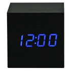 SoaringE Mini Square Blue LED Wooden Clock/ Alarm Clock, Temperature Light, Sound Control - Black
