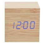 SoaringE Mini Square Blue LED Wooden Clock w/ Alarm Clock, Temperature Light, Sound Control - Wood