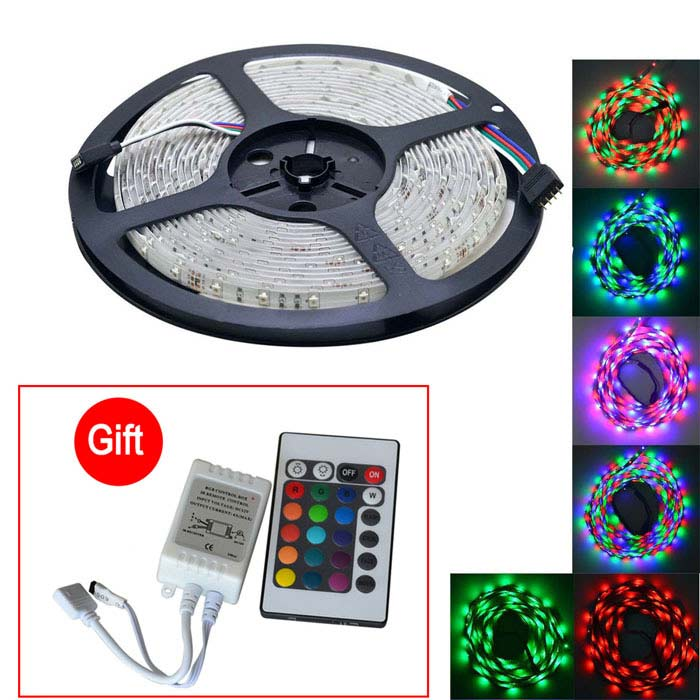 JIAWEN Waterproof 25W RGB 300-LED Light Strip w/ Remote Control (5m)