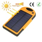Portable 5V 7000mAh Lithium Polymer Battery Mobile Solar Power Bank w/ Dual USB / LED - Orange
