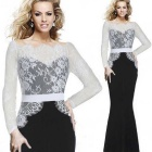 Fashion Slim Lace Fishtail Style Stitching Dress - Black + White (XL)