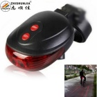 ZHISHUNJIA YWD05 Round 5-LED 7-Mode Red Laser Bicycle Tail Light w/ Clip - Black + Red (2 x AAA)