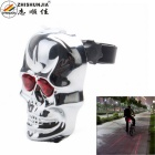 ZHISHUNJIA 7-Mode 2-LED Red Light Skull-Shape Bicycle Tail Light w/ Laser Warning - Silver + Red