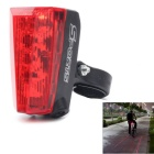 ZHISHUNJIA HWD05 Square Bicycle 5-LED 7-Mode Red Laser Tail Light w/ Clip - Black + Red (2 x AAA)