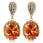 Oval Crystal Inlaid Earrings - Champagne (Pair)