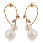 Women's Fashionable Imitation Pearls Crystal Earrings - Rose Gold (Pair)