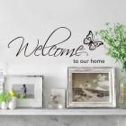 Welcome Home Butterfly Pattern Removable Bedroom Wall Stickers - Black