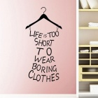 Removable Water-Resistant Fitting Room Design 3D Art Wall Decal Sticker - Black
