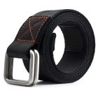 Striped Webbing Quick-Dry Nylon Belt w/ Dual Ring Buckle - Black (125cm)