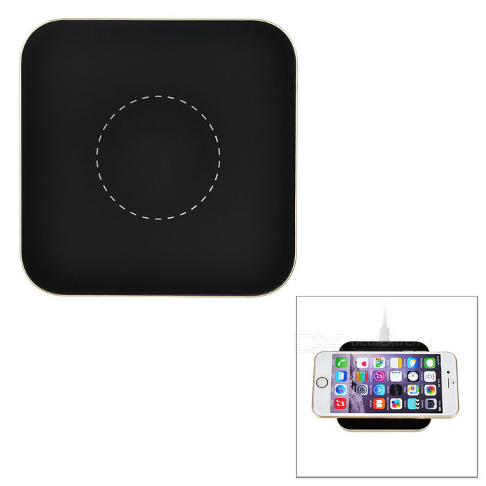 Ultrathin Qi Wireless Charger Charging Pad w/ Mini USB - Black + Gold