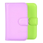 Lichee Pattern Protective PU Case w/ Stand & Card Slots for Wiko Ozzy - Purple + Green (2PCS)