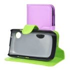 Lichee Pattern PU Case w/ Stand for Wiko Ozzy - Purple + Green (2PCS)