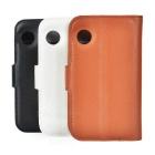 PU Case w/ Stand for Wiko Ozzy - Brown + White + Black (3PCS)