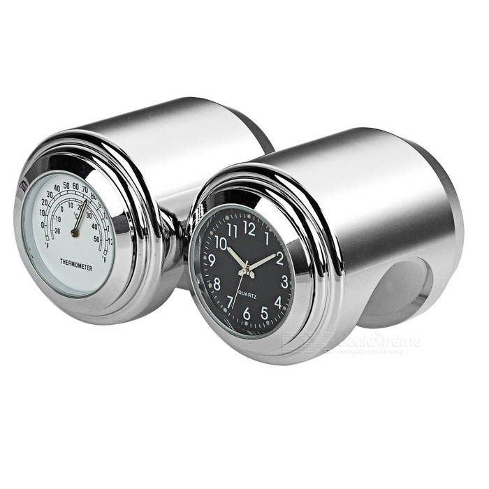 Motorcycle Clock + Thermometer Set for Harley & More - White + Black