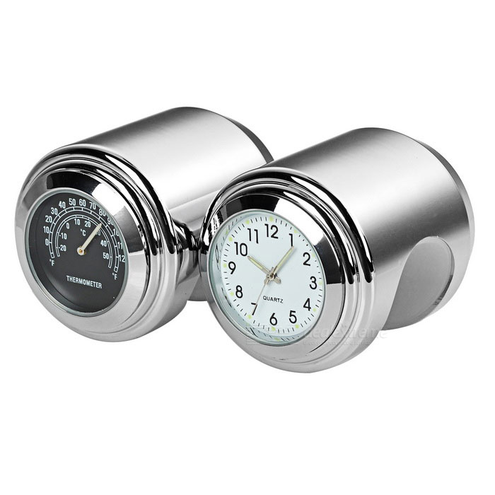 Motorcycle Clock + Thermometer Set for Harley & More - Silver