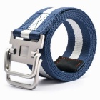 Striped Webbing Quick-Dry Belt w/ Dual Ring Buckle - Blue + White (110cm)