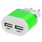 US Plug Dual USB Fast Power Charger Adapter - Green + White