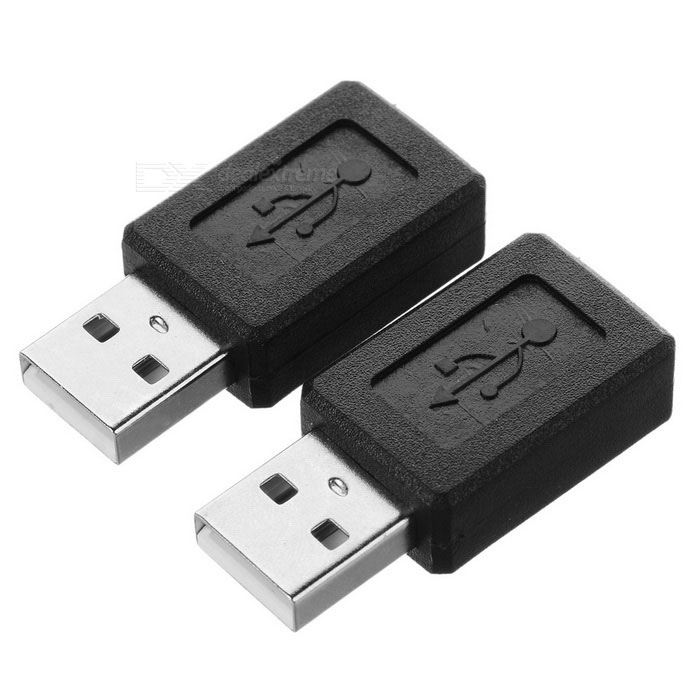 USB 2.0 to Mini USB 5-Pin Converter Adapter - Black (2PCS)