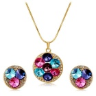 Women's Fashionable Crystal Inlaid Pendant Necklace - Golden