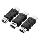 USB 2.0 to Firewire 6Pin Adapter Set - Black (3PCS)
