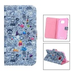 Mini Smile Patterned Protective Flip-Open PU Case w/ Stand for Samsung Galaxy S6 Edge - Pink + Grey