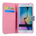 Mini Smile Flip-Open PU Case w/ Stand for Samsung S6 Edge - Pink+Grey
