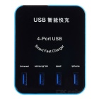 4-port USB Smart carregador w / tela de LED para celular / Tablet PC / Digital dispositivos - preto + azul