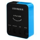 4-Port USB Smart Charger w/ LED Screen for Phone / Tablet - Black+Blue