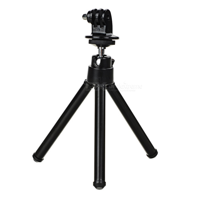 Mini Retractable Tripod w/ Adapter for GoPro Hero - BlackMounting Accessories<br>Form  ColorBlackQuantity1 DX.PCM.Model.AttributeModel.UnitMaterialAluminum alloyShade Of ColorBlackCompatible ModelsGoPro Hero 1,GoPro Hero 2,GoPro Hero 3,GoPro Hero 3+,GoPro Hero 4RetractableYesMax.Height21 DX.PCM.Model.AttributeModel.UnitMin.Height14.5 DX.PCM.Model.AttributeModel.UnitMax.Load300 DX.PCM.Model.AttributeModel.UnitPacking List1 x Tripod1 x Adapter<br>