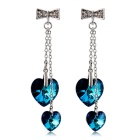 Bowknot Double Crystals Inlaid Earrings - Silver (Pair)