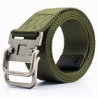 Striped Webbing Quick-Dry Belt w/ Dual Ring Buckle - Army Green (125cm)