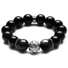 eQute BGEC110M2 925 Thai Silver Pixiu Obsidian Lucky Beads Bracelet for Men - Black